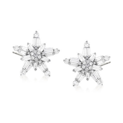 1.01 ct. t.w. Baguette and Round Diamond Star Earrings in 14kt White Gold, , default