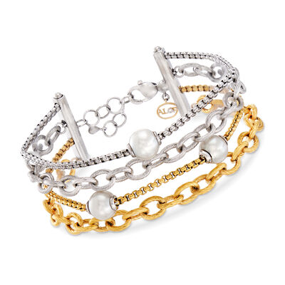 "ALOR ""Chain Reaction"" Cultured Pearl Two-Tone Stainless Steel Carnation-Link Bracelet, , default"