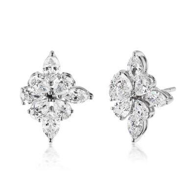 3.40 ct. t.w. Diamond Flower Earrings in 18kt White Gold
