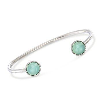 """Italian 10mm Green Chalcedony Cuff Bracelet in Sterling Silver. 7.5"""", , default"""
