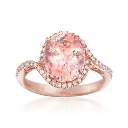 3.10 Carat Morganite and .25 ct. t.w. Diamond Ring in 14kt Rose Gold, , default