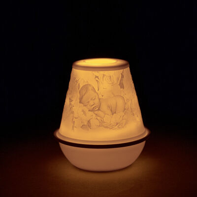 "Lladro ""New Baby"" Porcelain Lithophane Votive Light"
