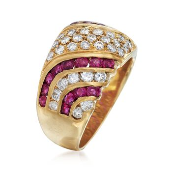 C. 1980 Vintage 1.10 ct. t.w. Ruby and 1.10 ct. t.w. Diamond Wide Ring in 18kt Yellow Gold. Size 6.5, , default