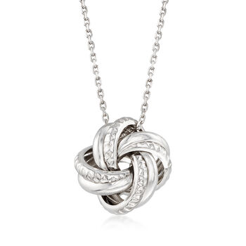"""Italian Sterling Silver Love Knot Pendant Necklace. 18"""", , default"""