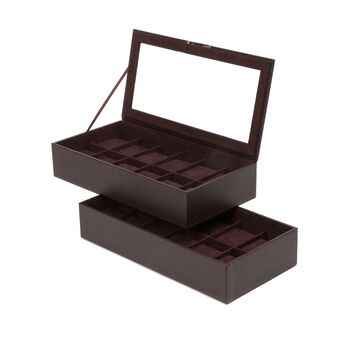 """Wolf Designs """"Stackable"""" Set of Two Brown Faux Leather Twelve-Part Watch Trays, , default"""