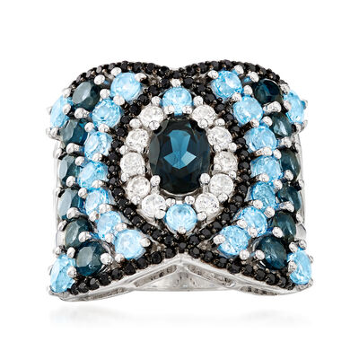 3.50 ct. t.w. Blue Topaz and .40 ct. t.w. White Zircon Ring with Black Spinel in Sterling Silver, , default