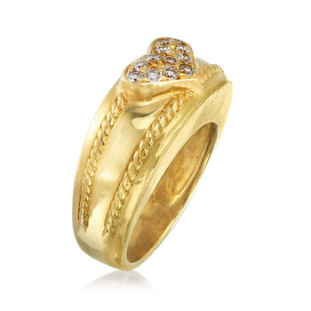 C. 1980 Vintage .25 ct. t.w. Pave Diamond Heart Ring in 18kt Yellow Gold. Size 5.5