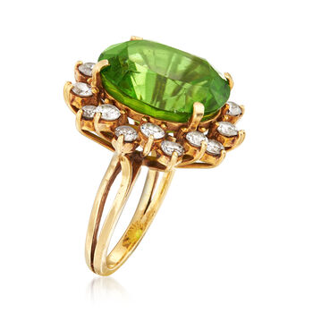 C. 1970 Vintage 16.50 Carat Peridot and 2.20 ct. t.w. Diamond Ring in 18kt Yellow Gold. Size 6.75, , default