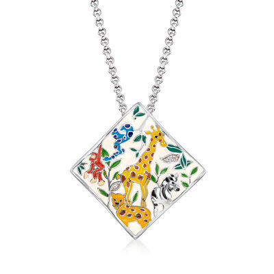 "Belle Etoile ""Serengeti"" Ivory and Multicolored Enamel Pendant with CZ Accents in Sterling Silver"