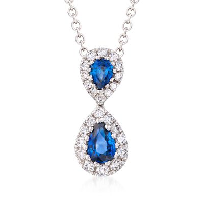 Gregg Ruth .73 ct. t.w. Sapphire and .36 ct. t.w. Diamond Necklace in 18kt White Gold, , default