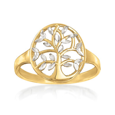 14kt Two-Tone Gold Cut-Out Tree of Life Ring