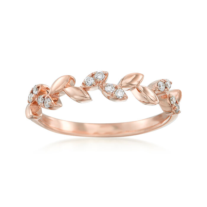 .12 ct. t.w. Diamond Leaf Ring in 14kt Rose Gold, , default