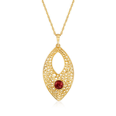 1.20 Carat Ruby Openwork Pendant Necklace in 14kt Yellow Gold