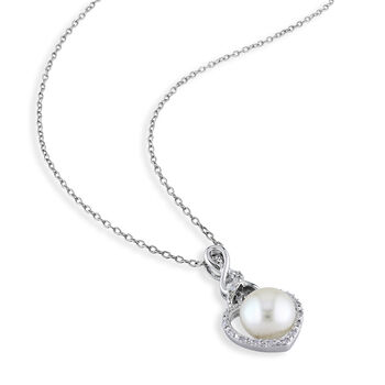 "8-8.5mm Cultured Button Pearl Pendant Necklace with Diamond Accents in Sterling Silver. 18"", , default"