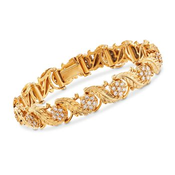 "C. 1990 Vintage 2.60 ct. t.w. Diamond Leaves Bracelet in 18kt Yellow Gold. 6.75"", , default"