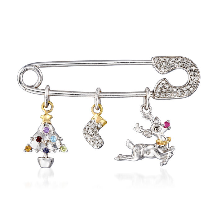 .15 ct. t.w. Diamond and Multi-Gem Christmas Safety Pin in Sterling Silver with 14kt Yellow Gold
