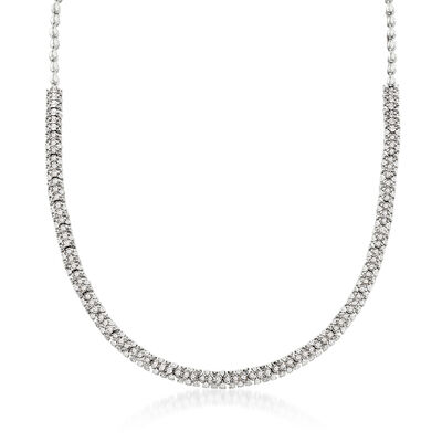2.00 ct. t.w. Diamond Three-Row Necklace in Sterling Silver