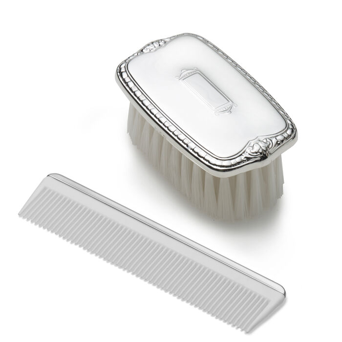 Empire Pewter Child's Shield Brush and Comb Set, , default