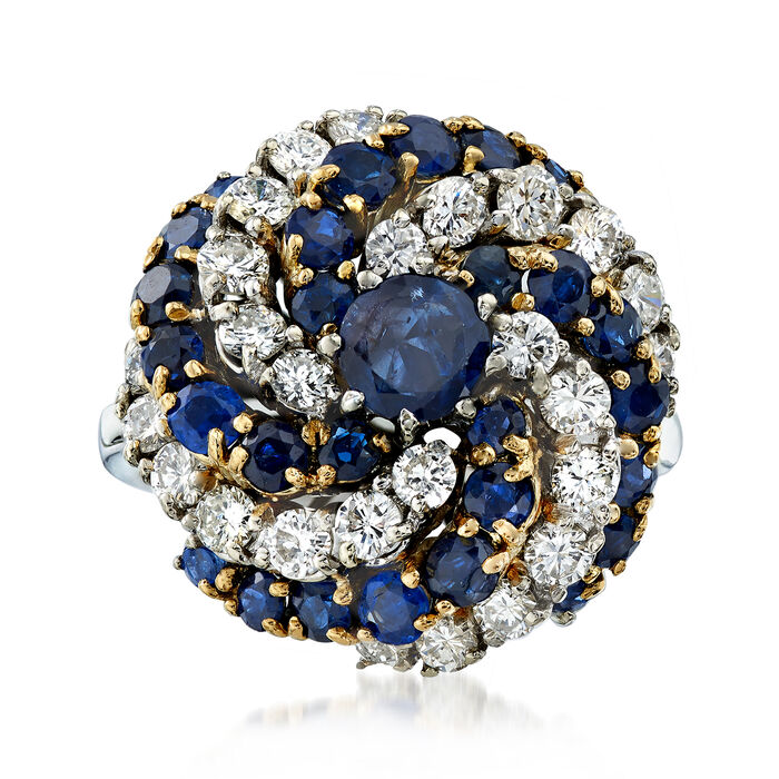 C. 1970 Vintage 3.25 ct. t.w. Sapphire and 1.70 ct. t.w. Diamond Swirl Ring in 14kt Two-Tone Gold. Size 4.5, , default
