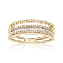 .36 ct. t.w. Baguette and Round Diamond Four-Row Ring in 14kt Yellow Gold, , default