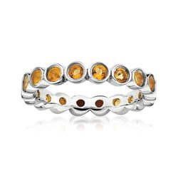 1.00 ct. t.w. Bezel-Set Citrine Eternity Band in Sterling Silver, , default