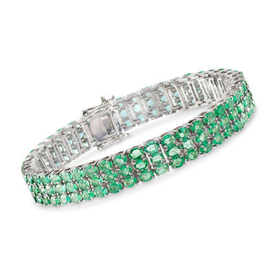 20.00 ct. t.w. Emerald Three-Row Tennis Bracelet in Sterling Silver