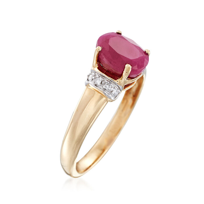 1.60 Carat Burmese Ruby Ring with Diamond Accents in 14kt Yellow Gold