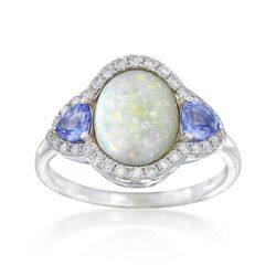 Opal and .40 ct. t.w. Tanzanite Ring With Diamonds in 14kt White Gold, , default