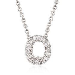 "Roberto Coin ""Tiny Treasures"" Diamond Accent Initial ""O"" Necklace in 18kt White Gold. 16"", , default"