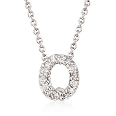 "Roberto Coin ""Tiny Treasures"" Diamond Accent Initial ""O"" Necklace in 18kt White Gold, , default"