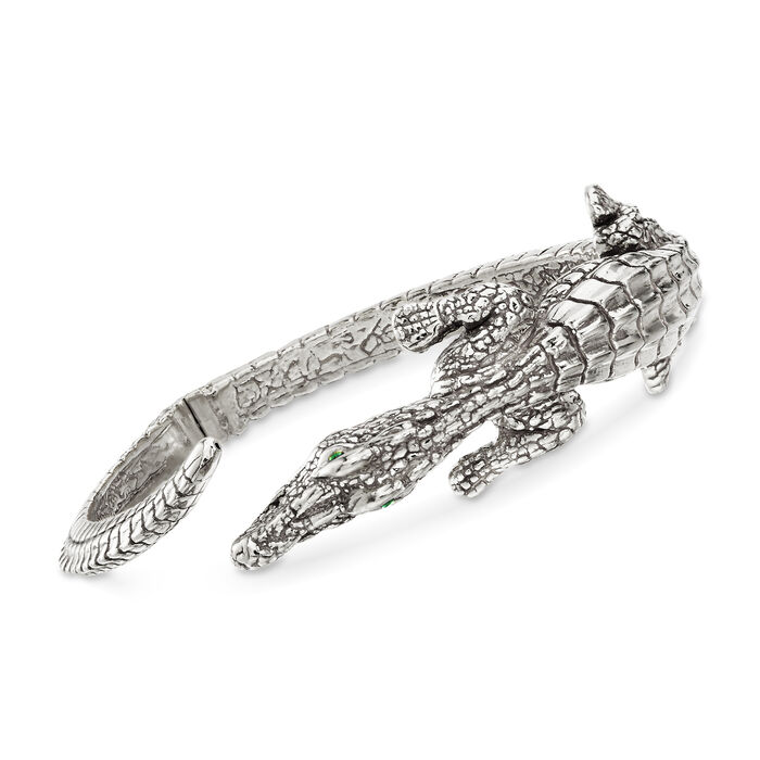 """Italian Sterling Silver Alligator Bypass Bangle Bracelet with Emerald Accents. 7.5"""", , default"""