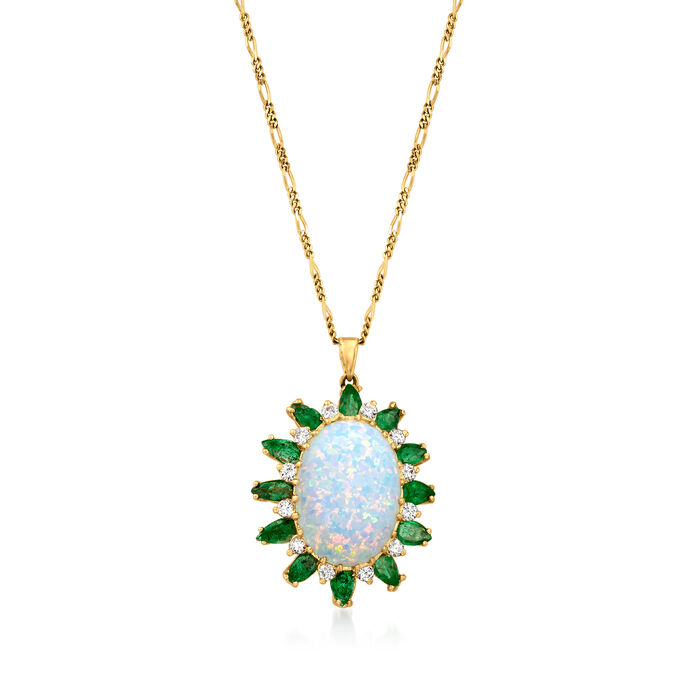 C. 1970 Vintage Opal, 2.40 ct. t.w. Emerald and .50 ct. t.w. Diamond Pendant Necklace in 14kt Yellow Gold