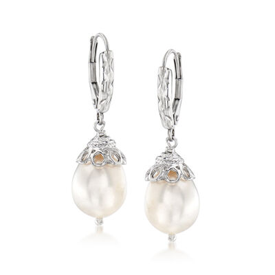 10-11mm Cultured Pearl Drop Earrings in Sterling Silver