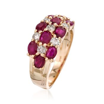 2.50 ct. t.w. Ruby and .45 ct. t.w. Diamond Ring in 14kt Yellow Gold. Size 7, , default
