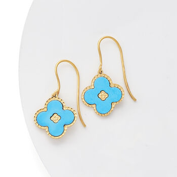 Italian Reconstituted Turquoise Flower Drop Earrings in 14kt Yellow Gold, , default