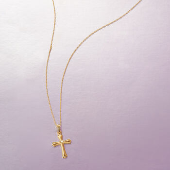 "Child's 14kt Yellow Gold Cross Pendant Necklace with Diamond Accent. 15"", , default"