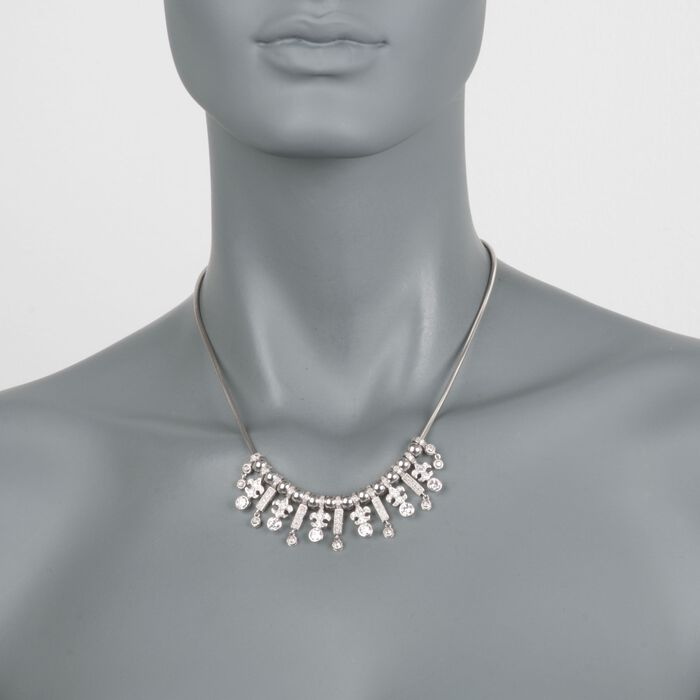 "C. 1990 Vintage 3.75 ct. t.w. Diamond Fleur-De-Lis Bib Necklace in 14kt White Gold. 17.5"", , default"
