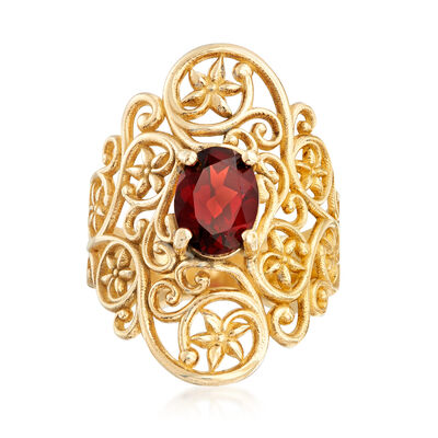 1.40 Carat Garnet Floral Vine Ring in 14kt Yellow Gold, , default