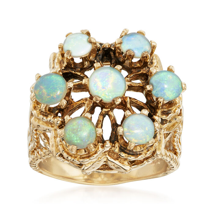 C.1970 Vintage Opal Ring in 14kt Yellow Gold. Size 6, , default