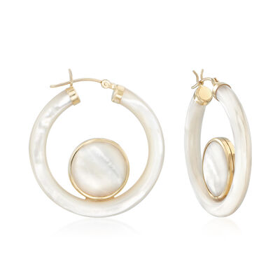 Mother-Of-Pearl Hoop Earrings in 14kt Yellow Gold, , default