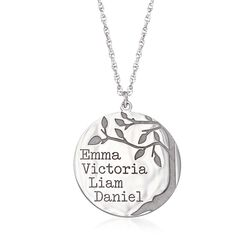 Sterling Silver Family Tree Circle Pendant Name Necklace, , default