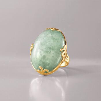 Cabochon Jade Ring in 18kt Gold Over Sterling, , default