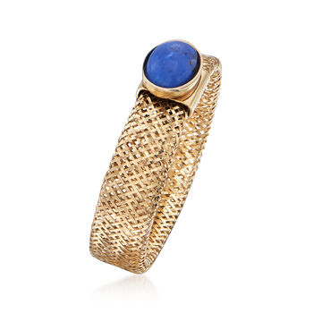 Italian Lapis Mesh Ring in 14kt Yellow Gold, , default
