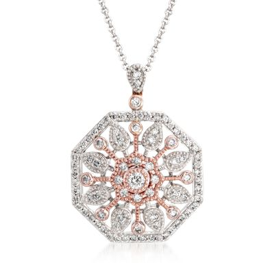 .51 ct. t.w. Diamond Sunburst Pendant Necklace in 18kt Two-Tone Gold, , default