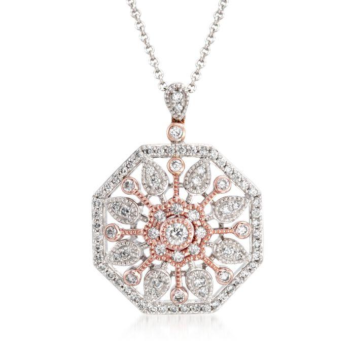 .51 ct. t.w. Diamond Sunburst Pendant Necklace in 18kt Two-Tone Gold