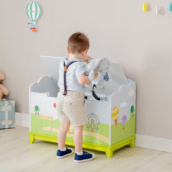 Child's Hot Air Balloons Wooden Toy Chest, , default