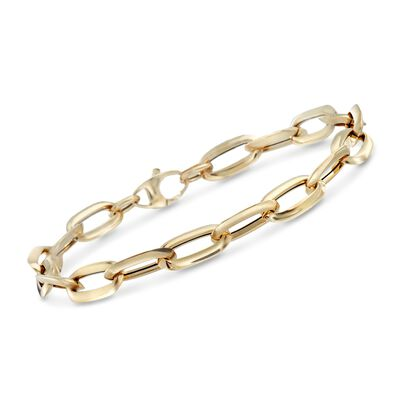Italian 14kt Yellow Gold Oval Link Bracelet, , default