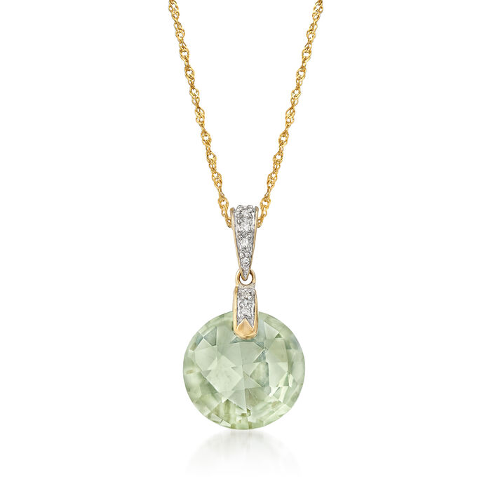 5.55 Carat Green Prasiolite Pendant Necklace with Diamonds in 14kt Yellow Gold