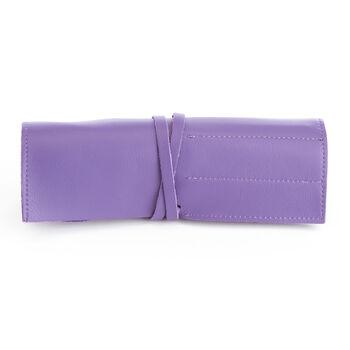 Royce Purple Leather Makeup Brush Roll