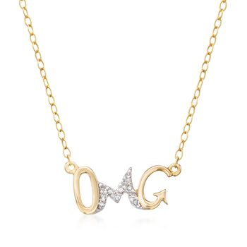 "14kt Yellow Gold ""Omg"" Necklace With Diamond Accents. 18"", , default"